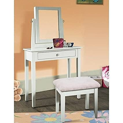 Gentil Youth Vanity, Bench And Mirror Set With Jewelry Storage, White
