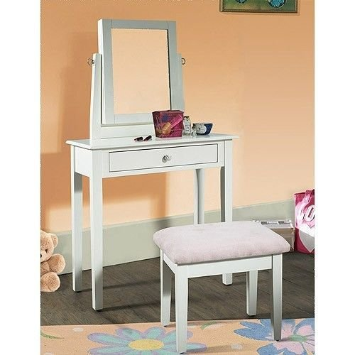 Youth Vanity, Bench and Mirror Set with Jewelry Storage, White by Youth Vanity
