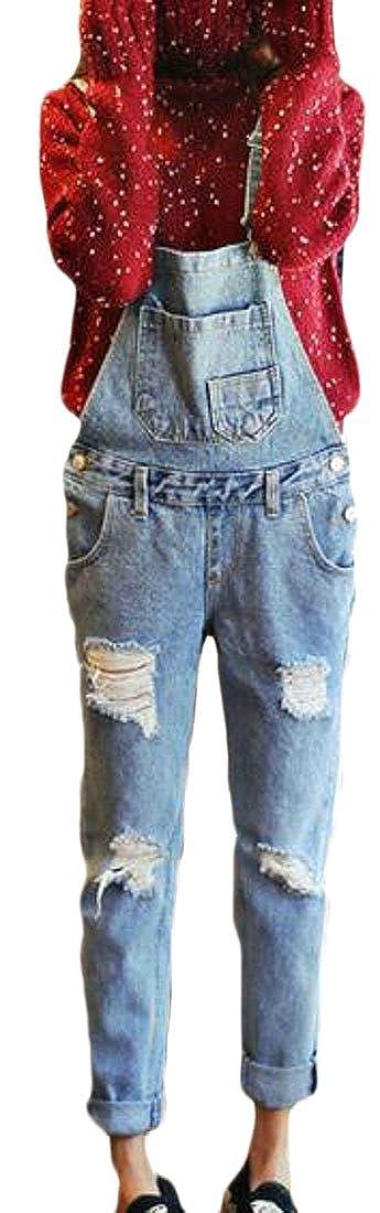 Pivaconis Women Casual Pants Hole Denim Jumpsuit Skinny Jeans Bib Overalls