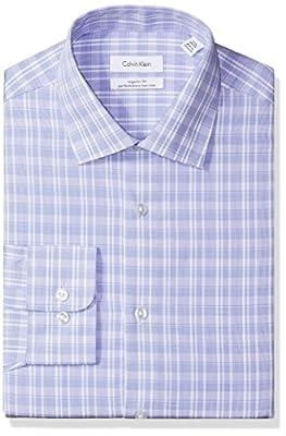 Calvin Klein Men's Regular Fit Plaid Dress Shirt