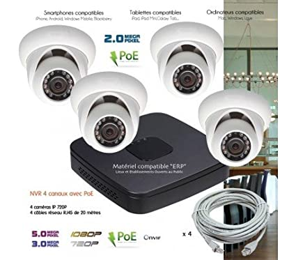 Cámaras Vigilancia IP – Sistema IP de Video Vigilancia IP con 4 Cámaras cúpula – kit