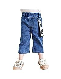 PAUBOLI Baby Jeans Boys Girls Denim Cropped Pants with Fashion Belt 1-7T