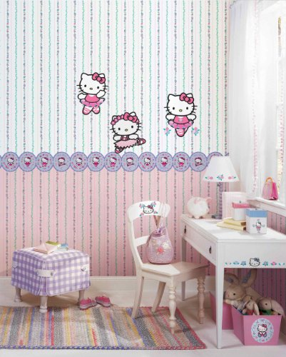 York Wallcoverings Bt2789 Hello Kitty Stripe Wallpaper Bright White