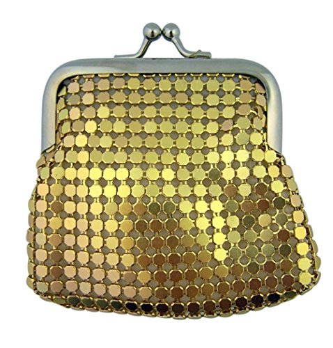 Metal Mesh Rosary Case with Lined Interior and Clasp Close, 3 1/2 Inch (Gold)