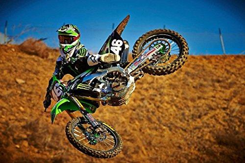 Motocross Dirt Bike Jump Sport Fabric Cloth Rolled Wall Poster Print