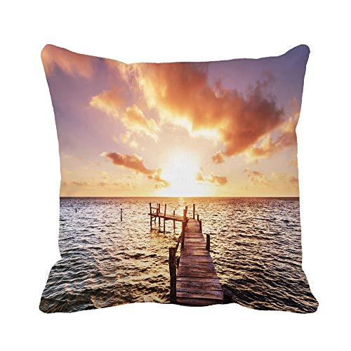 (Awowee Throw Pillow Cover Sunset Boardwalk on Beach Wide Landscape Mexico Sky Sunrise 20x20 Inches Pillowcase Home Decorative Square Pillow Case Cushion Cover)