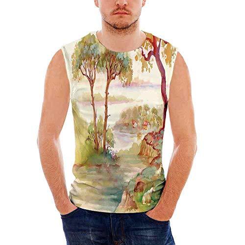 iPrint Mens Workwear Landscape Sleeveless Midweight T- Shirt,Summer  Landscape with Goat