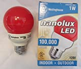 LED Marquee Light Bulbs, Red Frosted, 1W, G19, U.S. Standard Base, Westinghouse Nanolux and Sylvania Equivalent - 10 Pack