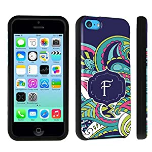 DuroCase ? Apple iPhone 5c Hard Case Black - (Mint Flower Monogram F)