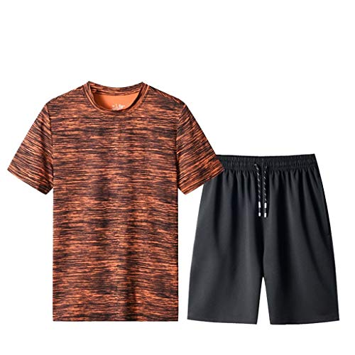 Tracksuit Sets for Men 2 Piece Casual Tracksuit T-Shirts and Shorts Running Jogging Athletic Sports with Drawstring (3XL, Orange)