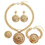 Moochi Africa Golden Big 3D Wire Woven Ball Hollow Pendant Fashion Costume Necklace Jewelry Set