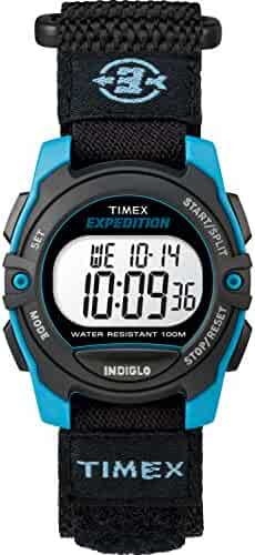 Timex Unisex TW4B12900 Expedition Mid-Size Digital CAT Black/Blue Fast Wrap Strap Watch