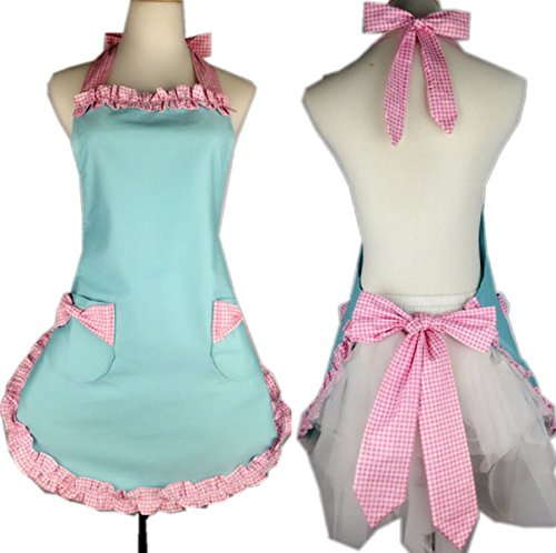SMARTitns Aprons for Women, Cooking Retro Vintage Kitchen Aprons Plus Size with Extra Ties (Pink)