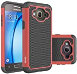 Galaxy J3 Case, Galaxy Amp Prime Case, Galaxy Express Prime Case - OEAGO Shock-Absorption Dual Layer Defender Protective Case Cover For Samsung Galaxy J3 (2016) / Amp Prime / Express Prime - Red