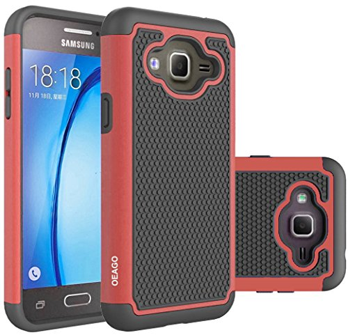 OEAGO Samsung Galaxy J3 6 (2016) Case, Galaxy J3 V J3V Case, Galaxy Sky Case, Galaxy Amp Prime Case, Galaxy Express Prime Case, Galaxy Sol Case, Shock-Absorption Dual Layer Protective Cover - Red