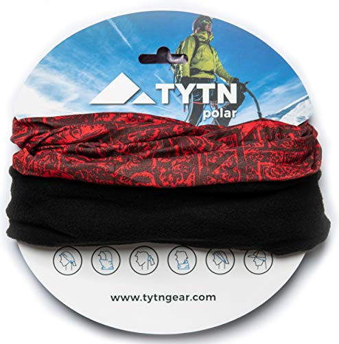 TYTN Neck Warmer Head Scarf - Multifunctional Bandana for outdoor wear - Microfiber & Polar Fleece (Red)