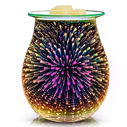 EQUSUPRO Glass Electric Essential Oil Warmer Electric Incense Wax Tart Burner Wax Melt Warmer Fragrance Night Light Aroma Decorativ for Home Office Bedroom Living Room Gifts & Decor