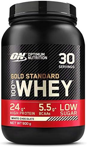 Optimum Nutrition Gold Standard 100% Whey Proteína en Polvo, Glutamina y Aminoácidos Naturales, BCAA, Chocolate Blanco, 30 Porciones, 900g, Embalaje ...