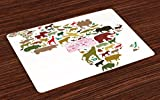Lunarable Africa Place Mats Set of 4, African Continent Map with Local Animals Diversity Lion Camel in Equator Design, Washable Fabric Placemats for Dining Room Kitchen Table Decoration, Multicolor