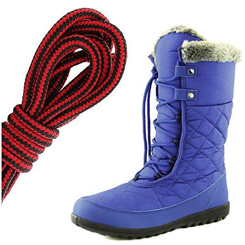 Dailyshoes Confort Des Femmes Bout Rond Mi-mollet Cheville Plat Haute Eskimo Fourrure Dhiver Bottes De Neige, Noir Rouge Bleu Royal