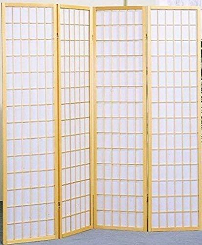 Legacy Decor 4 Panel Japanese Oriental Style Room Screen Divider Natural Color - Natural Room Divider Shoji Screen