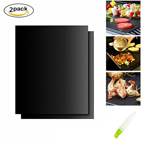 Mascot Grill Mat Set of 2,Non-stick BBQ Grill & Baking Mats - FDA-Approved,Reusable and Easy to Clean - Works On Gas, Charcoal, Electric Grill,Oven and More,With silicone Oil Bottle Brush