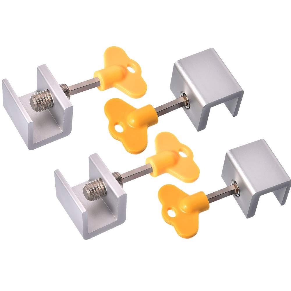 Sliding Window Locks Stops,Adjustable Aluminum Alloy Door Frame Security Locks with Key(4Pack)