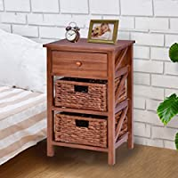 Giantex 3 Tier Nightstand End Table w/ 1 Drawer 2 Basket Wood Bedside Sofa Table Organizer Home Bedroom Living Room Furniture, Brown