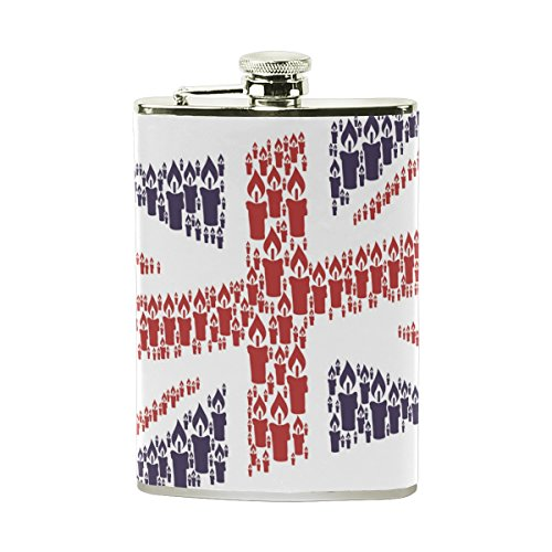Stainless Steel Flask 18/8 with Leather Wrapped Cover Union Jack Candle Icons Pocket Hip Flask 8 Oz Gift for Men (Personalized Personality Travel Candles)