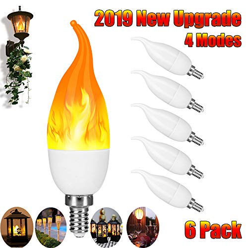 Artistic Home E12 LED Flame Effect Candelabra Light Bulbs - 2019 Upgraded 4 Modes - E12 LED Flickering Candle Fire Bulbs for Home/Garden/Hotel/Party/Bar/Store (6 Pack)