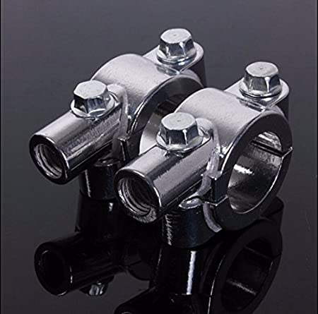 HTT Group Chrome 7//8 22mm Motorcycle HandleBar 10mm Mirror Thread Mount Holder Clamp Adaptor