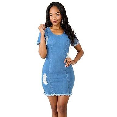 00c24073adb Women's Sexy Zipper Light Blue Night Club Slim Bag Hip Denim Dress at  Amazon Women's Clothing store:
