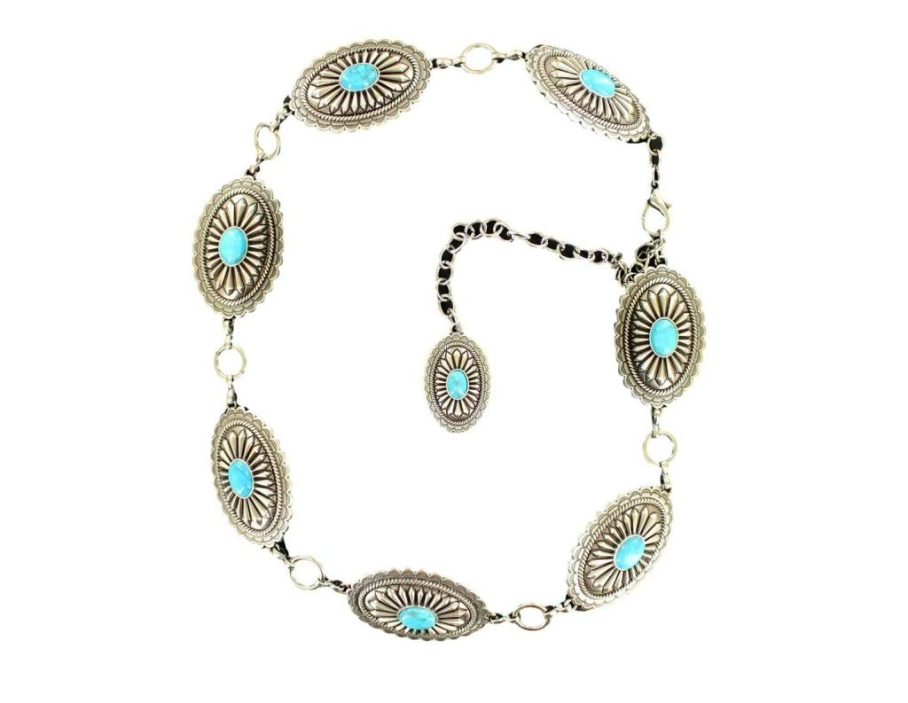 Ariat Women's Turquoise Concho Chain Belt Silver XL (42'' Waist) by ARIAT