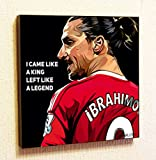 Zlatan Ibrahimovic MU Fifa Football Soccer Framed Poster Pop Art for Decor with Motivational Quotes Printed