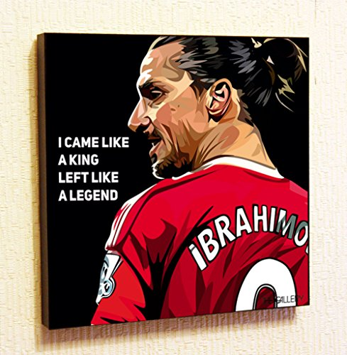 (Zlatan Ibrahimovic MU Fifa Football Soccer Framed Poster Pop Art for Decor with Motivational Quotes Printed)