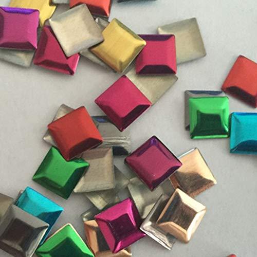 Pukido 50pcs 77mm Color Mixed Square Hotfix Studs Flat Back Iron Beads Rhinestuds Flatback Heat Transfer for DIY Nailheads -