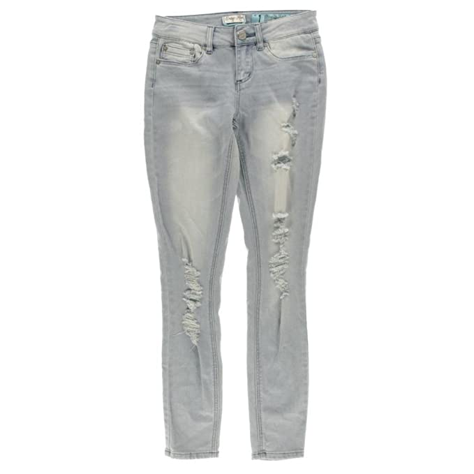 05e99302496dd Image Unavailable. Image not available for. Color  Indigo Rein Women s  Light WASH Mid-Rise Destroyed Denim Skinny Jeans SZ 1 Juniors
