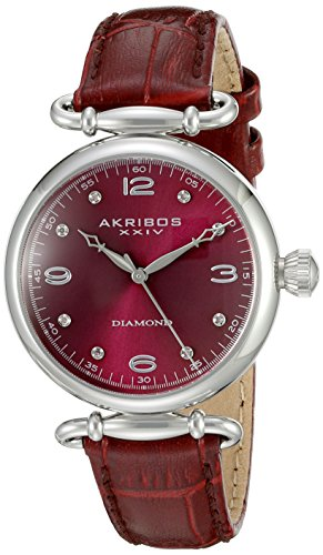 Akribos XXIV Women's AK878BUR Round Burgundy Dial Three Hand Quartz Stainless Steel Strap Watch