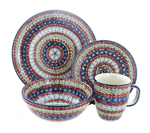 Polish Pottery Fanfare 4 Piece Dinner Set