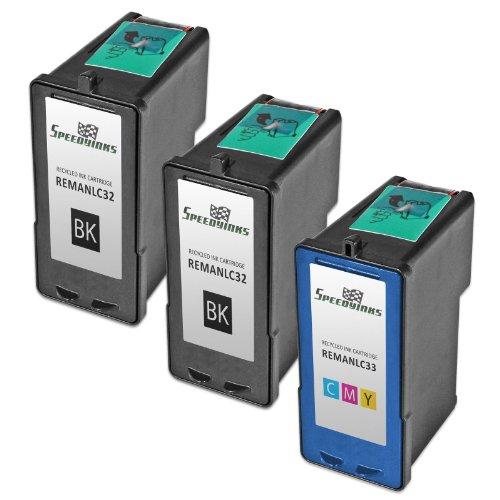 Speedy Inks - Remanufactured Lexmark #32 18C0032 Black & #33 18C0033 Color Ink Cartridges: 2 Black & 1 Color