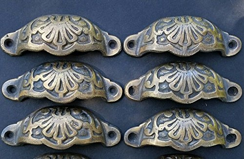 6 Apothecary Drawer Cup Bin Pulls Handles Antique Victorian Style 3 9/16