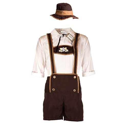 Emmas Wardrobe Men's Oktoberfest Beer Costume - Includes White Shirt with Lederhosen - Festive German Outfit for Halloween, Parties or Themed Events - Made UK Sizes