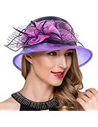 c11b7806c0da7 Lady Church Derby Dress Cloche Hat Fascinator Floral Tea Party Wedding Bucket  Hat S051
