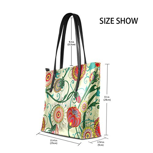 Shoulder Vintage Totes Bags Handbag Top Fashion Floral Leather Women's TIZORAX Handle Purses PU UxOzWq