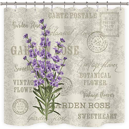 Riyidecor Lavender Vintage Postcard Shower Curtain Weighted Hem Flowers Stall Floral Grunge Herbs Leaves Purple Beige Decor Fabric Set Polyester Waterproof Fabric 72x72 Inch12-Pack Plastic Hooks ()