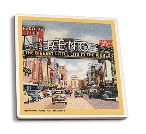 Lantern Press Reno, Nevada - South View of Virginia Street, Famous Reno Sign (Set of 4 Ceramic Coasters - Cork-Backed, Absorbent)