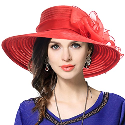 VECRY Lady Derby Dress Church Cloche Hat Bow Bucket Wedding Bowler Hats (Wide Brim-Red, Medium)