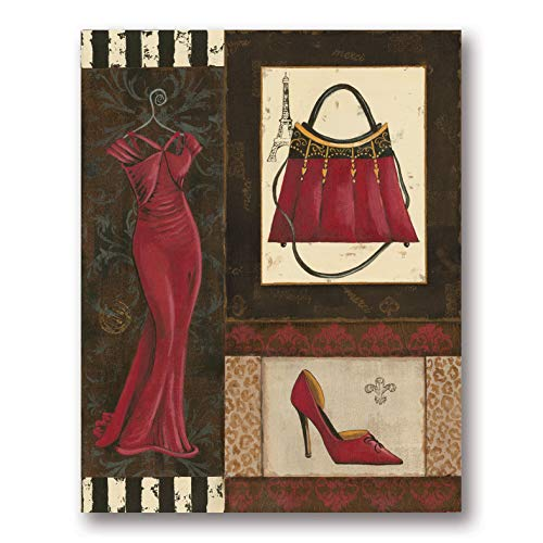 Contemporary Print Dress - Fashion Collage | Trendy French Dress Silhouette, High-Heels and Purse Print; One 11x14in Poster Print. Red/Black/Cream by PosterArtNow