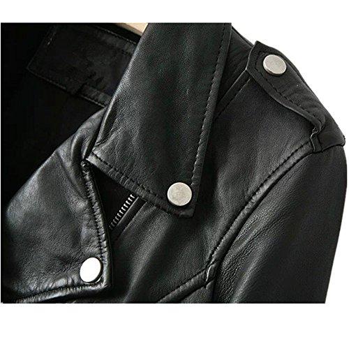 LJYH Women's Zipper Motorcycle Biker Faux Leather Jackets Black