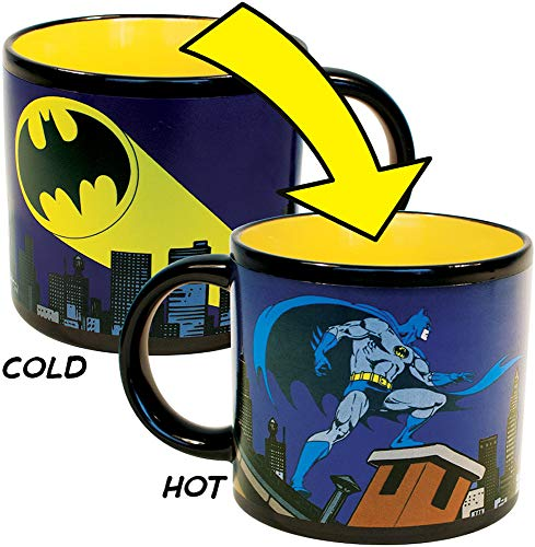 Batman Bat Signal Heat Changing Coffee Mug - DC Comics Officially Licensed - - Add Hot Water and Batman Comes to the Rescue - Comes in a Fun Gift Box -